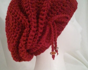 Crochet hat cinched slouchy in deep red made to fit teens and adults