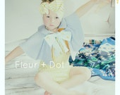 The Blue Cinnamon Girls Peter Pan Collar and Bow Linen and Cotton Cape Spring Summer Collection by Fleur and Dot