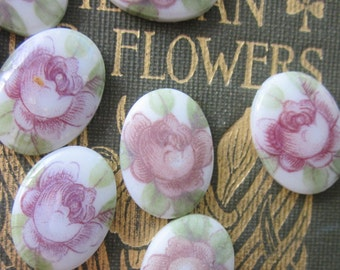 Vintage  Western German Rose Glass Cabochons