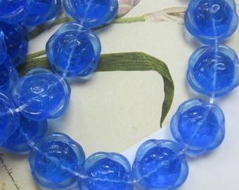 Vintage Sapphire Blue Rose  Flower Glass Bead
