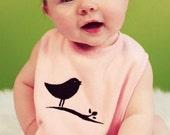 Black Bird silhouette  Embroidered baby bib