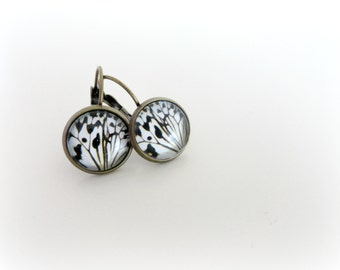 Butterfly wings  - black white earrings leverback post Choose your earwire Woddland jewelry Gift for her Valentine idea.
