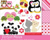 Perfect Mates - Digital paper and clip art set - Valentine's day clip art