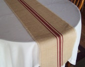 Grain Sack Table Runner with Hand Painted Barn Red Stripes - Burlap Table Runner - Striped Farmhouse Runner - Rustic Home Decor