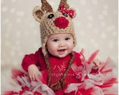 Baby Reindeer hat Tan w BOW Crochet hat great photo prop or gift for Christmas - size nb, 1-3mos, 3-6mos, 6-12mos