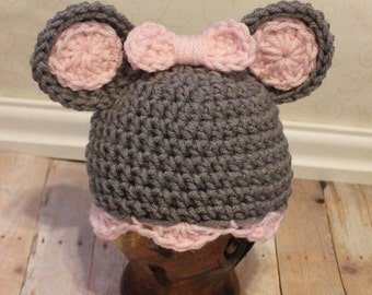 Newborn Baby Mouse Hat Photography Prop (you choose accent color, sizes nb, 1-3mos, 3-6mos, and 6-12mos)