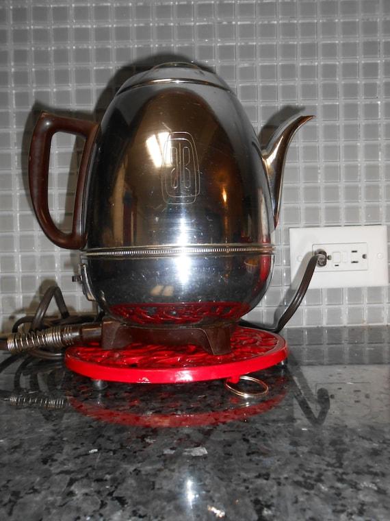 VINTAGE Percolator Coffee Pot General Electric Percolator coffee maker Chrome coffee Kettle model 33p30 1940s kitchen appliance