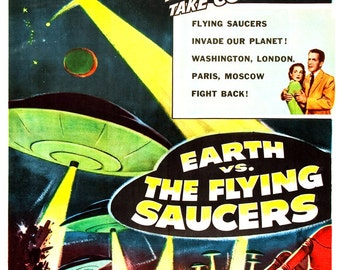 "Earth vs The Flying Saucers - Sci Fi Movie Poster Print - 13""x19"" - Home Theater Decor - Vintage Movie Poster - 50s kitsch - b movie"