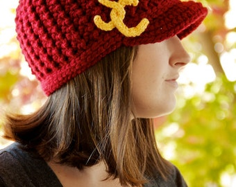 Women's College-Themed Brimmed Beanie - Crimson w/ Gold - Made to Order