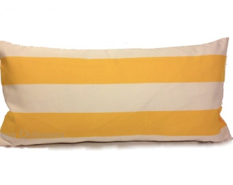 Lumbar Pillow Cover Yellow and White Stripes- Medium Weigh Indoor Outdoor Fabric - Invisible Zipper Closure
