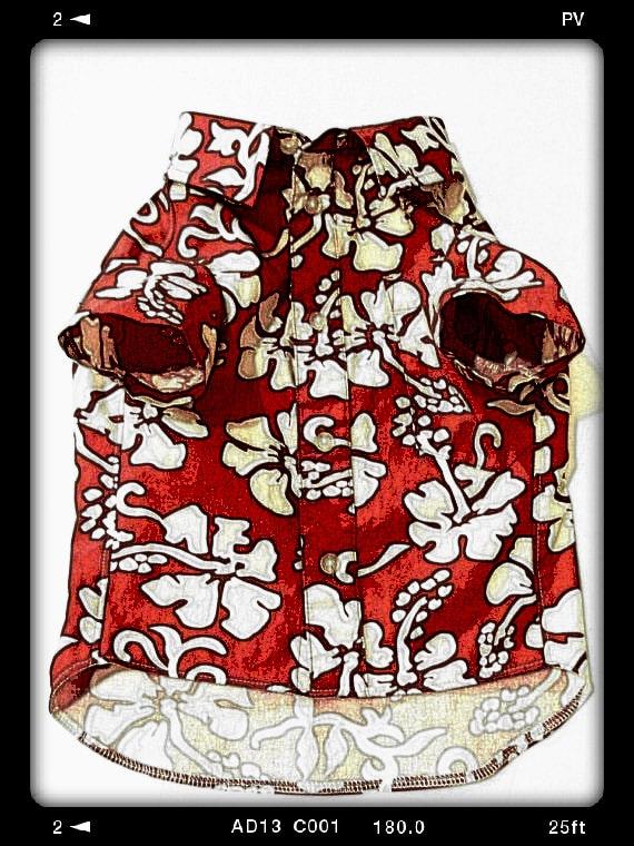 Medium Red Hawaiian Dog Shirt