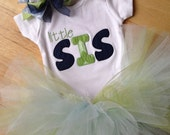 Little sister green chevron and navy bodysuit with matching tutu and hair bow