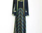 Vintage Dress and Cardigan set in Black w/  neon Red, Blue, Yellow and Green Detail by Jonathan Logan, Size 5
