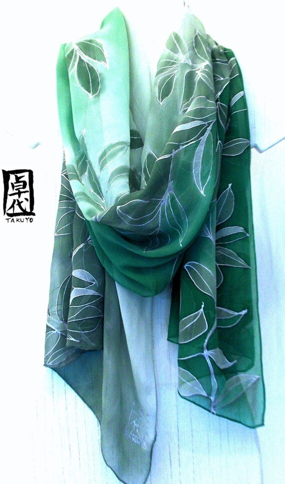Green Silk Scarf Floral, Hand painted. Kimono Forest Green Silk Scarf. Silk Chiffon Scarf. Approx 19x78 in. In Stock. Ready to Ship.