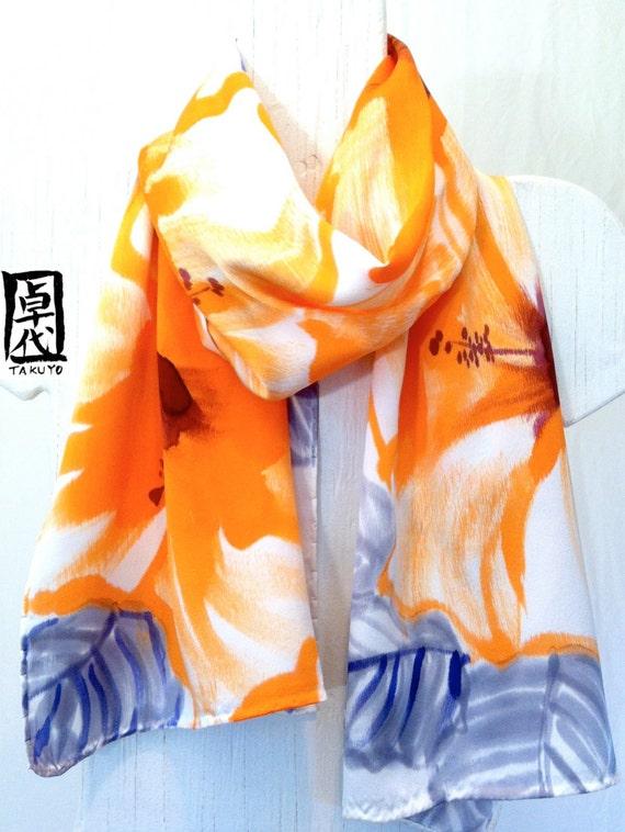 Hand Painted Silk Scarf. Silk Scarves Takuyo. Orange Hibiscus. Luxury Silk Japanese. Silk Charmeuse Scarf. Orange Silk Scarf. 15x60 in.