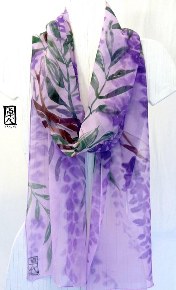 Hand Painted Silk Scarf Purple Japanese Scarf, Pastel Lavender Wisteria Garden. Purple Silk Scarf. Silk Chiffon. 10x88 in. Made to Order.