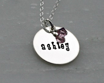 Personalized Silver Name and Birthstone Necklace - Hand Stamped Silver Necklace - Silver Charm Necklace - Gift for Mom