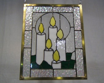 Stained glass panel window candles stained glass window panel window hanging Christmas decor holiday