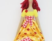 Rag doll fabric doll in bright yellow dress red hair cute handmade cloth doll art doll stuffed doll - birthday gift for girls