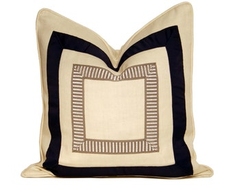 "20"" Ivory Linen Pillow with Blue/Grey Ribbon Detail"