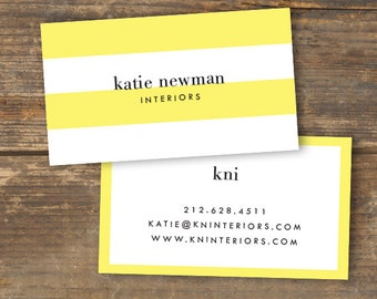 Business Card - Lemon Luxe - Yellow Stripes - Printable