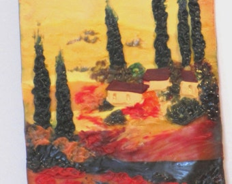 """ACEO polymer clay painting """"Tuscan countryside"""""""