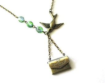 Envelope locket necklace blue green jewelry bird sparrow necklace antique brass bronze