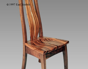 Chair, zebrawood, walnut