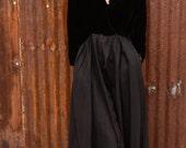 vintage party dress black velvet bodice black satin skirt from Diz Has Neat Stuff