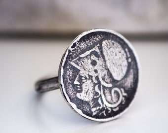 Athena Sterling Silver Ring-Replica Coin Ring-Ancient Greek Inspired Jewellry-Vintage Inspired Coin Ring-Under 50