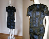 RESERVED Vintage 1950s Abstract Print Short Sleeve Day Dress with Decorative Button Front Bust 40