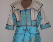 Midas Touch in Turquoise, Cream and Metallic Gold Color Block Peplum Jacket