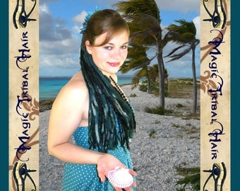 MERMAID Tribal Fusion YARN dread hair FALLS Belly dance Fantasy wig Larp fairytale Goth Burning Man extensions teal blue turquoise black