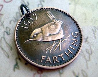 Bird Necklace - WREN BIRD COIN necklace - Coin Jewelry -  English - Jenny Wren - Christopher Wren - England coin - bird necklace - songbird