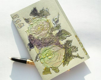 Blank greeting card - Two mint green roses - romantic love art card - wedding card - light green olive beige flower - original artwork OOAK