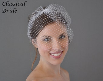 CLASSIC FRENCH BIRDCAGE Blusher 9 Inch Veil In White or Ivory for bridal wedding tiara hair accessory