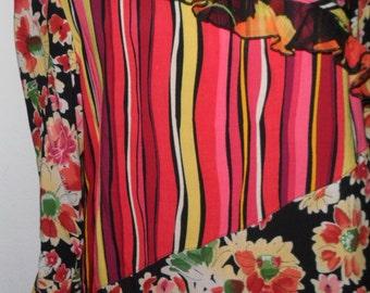 Vintage Blouse Floral Shirt Romantic Patchwork Size Small Cactus Flower