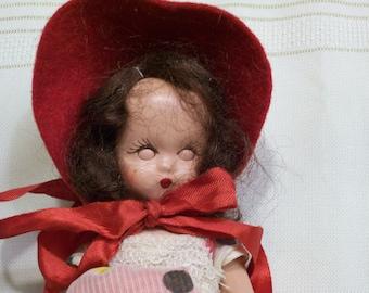 Nancy Ann Storybook  Doll  Vintage Red Polka Dot Dress Composition 1940s