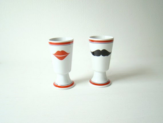 tall coffee mugs with lips and mustache, tall white coffee cups, his and hers, couples gift, love birds mugs