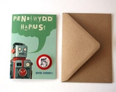 Welsh Penblwydd Hapus Robot Birthday Eco Friendly Art Greeting Card with Number Badge