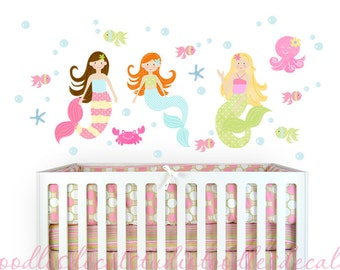 Mermaid Wall Decal, Mermaid Sea life Fabric Decal, Set of 3 Mermaids, Reusable Peel 'n Stick Fabric Decals, Girls Mermaid Nursery Art