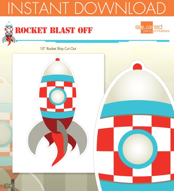 Rocket Ship Spaceship Birthday Party Printables - Rocket Centerpiece Cut-Out - DIY Print - Blast Off - Instant Download