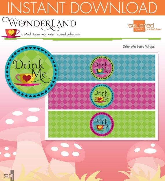 Mad Hatter Tea Party Inspired Printable Bottle Wraps- Drink Me - DIY Print - Alice in Wonderland Inspired - Instant Download