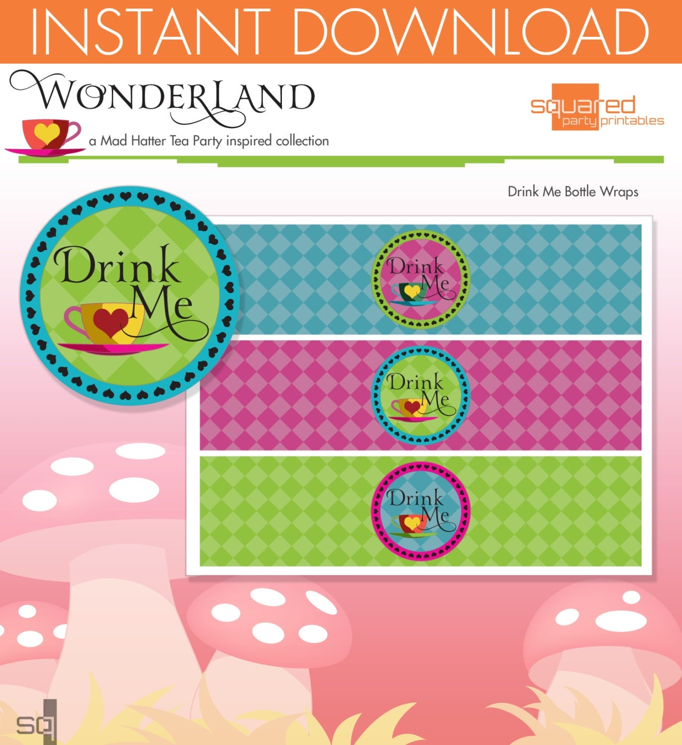 Mad Hatter Tea Party Inspired Printable Bottle Wraps Drink Me