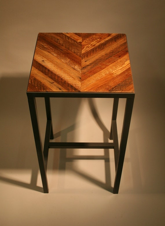 Items similar to chevron wood and metal side bedside for Wood and metal bedside table