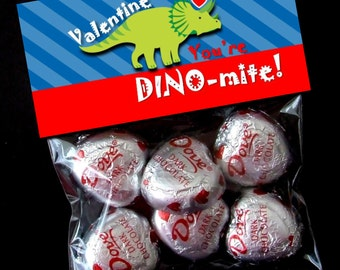 INSTANT DOWNLOAD - Printable Valentine Treat Bag Toppers  - You're DINO-mite Valentine