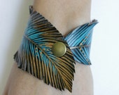 Feather Cuff Bracelet, Turquoise Feather Bracelet, Faux Leather Bracelet, Hand Painted Vegan Jewelry, Gifts for Her