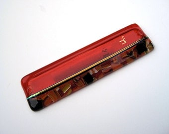 Orange fused glass mezuzah,dichroic glass, chai in 18 Kt gold paint