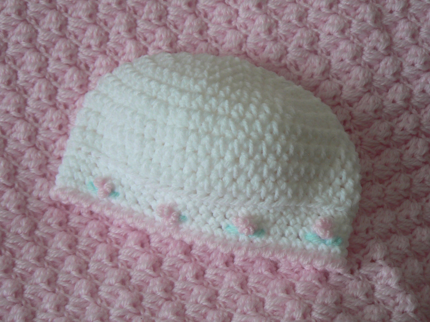 Crochet Pattern Notation : Crochet Pattern Baby Hat with Rosettes Baby Girl Newborn ...