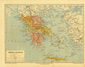 1912 Vintage Historical Map of Ancient Greece